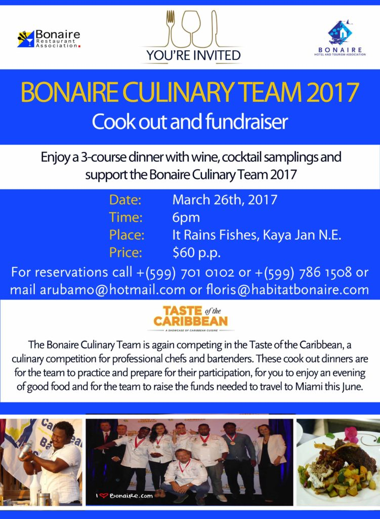 Invitation Culinary Cook out March 26 2017 bonaire in maart
